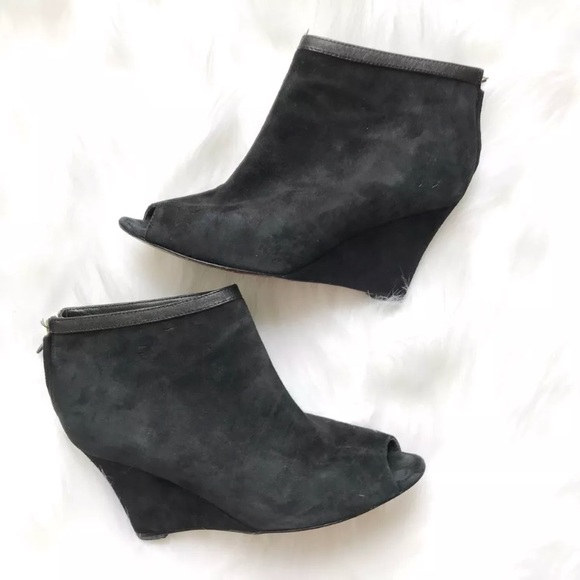 b04d69106a8 Ann Taylor Shoes - Ann Taylor Black Suede Wedge Peep Toe Booties